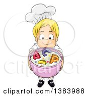 Clipart Of A Blond White Boy Chef Holding Up A Bowl Of Alphabet Soup Royalty Free Vector Illustration
