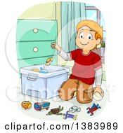 Clipart Of A Red Haired White Boy Kneeling And Throwing Toys In A Bin Royalty Free Vector Illustration by BNP Design Studio