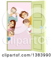 Clipart Of A Brunette Caucasian Family Of Five Peeking Around A Doorway Royalty Free Vector Illustration