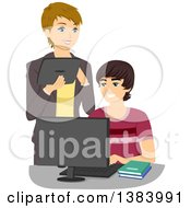 Clipart Of A Brunette White Teenage Boy During A Computer Lesson With A Woman Royalty Free Vector Illustration