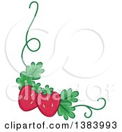 Clipart Of A Corner Border Of Strawberries And A Vine Royalty Free Vector Illustration