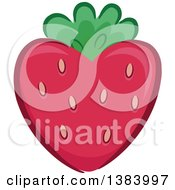 Clipart Of A Heart Shaped Strawberry Royalty Free Vector Illustration