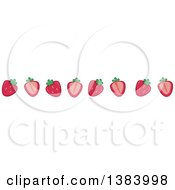 Clipart Of A Border Of Halved Strawberries Royalty Free Vector Illustration