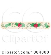 Clipart Of A Border Of Strawberries And Vines On Tan Royalty Free Vector Illustration