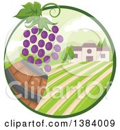 Clipart Of A Vinyard Landscape And Building With Grapes And A Barrel In An Oval Royalty Free Vector Illustration