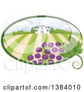 Clipart Of A Vinyard Landscape And Building With Grapes In An Oval Royalty Free Vector Illustration by BNP Design Studio