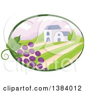 Clipart Of A Vinyard Landscape And Building With Grapes In An Oval Royalty Free Vector Illustration