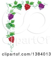 Clipart Of A Green Red And Purple Grape Vine Corner Border Royalty Free Vector Illustration