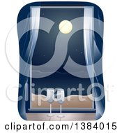 Clipart Of A Window With Champagne Glasses Looking Out On The Ocean At Night Royalty Free Vector Illustration