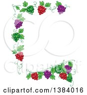 Clipart Of A Green Red And Purple Grape Vine Border Royalty Free Vector Illustration