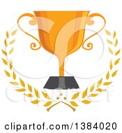 Clipart Of A Gold Trophy Cup With Laurel Branches Royalty Free Vector Illustration