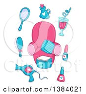 Clipart Of Pink And Blue Spa Items Around A Chair Royalty Free Vector Illustration by BNP Design Studio