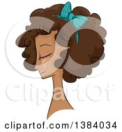 Clipart Of A Sketched Black Woman In Profile With Her Hair In A Curly 50s Style Royalty Free Vector Illustration