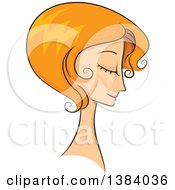 Clipart Of A Sketched Red Haired White Woman In Profile With Her Hair In A Short 50s Style Royalty Free Vector Illustration by BNP Design Studio