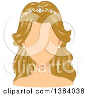 Clipart Of A Faceless Blond White Woman Or Mannequin Wearing A Bridal Tiara Royalty Free Vector Illustration by BNP Design Studio