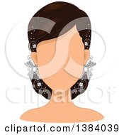 Clipart Of A Faceless Brunette White Woman Or Mannequin Wearing Accessories In Her Hair Royalty Free Vector Illustration by BNP Design Studio
