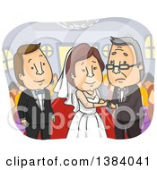 Clipart Of An Emotional Father Giving His Daughter Away On Her Wedding Day Royalty Free Vector Illustration