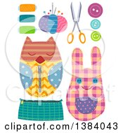 Clipart Of Sewing Notions And Crafts Royalty Free Vector Illustration