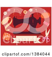 Clipart Of A Silhoeutted Sewing Machine And Notions On Red Royalty Free Vector Illustration