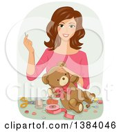 Clipart Of A Happy Brunette White Woman Sewing A Teddy Bear Royalty Free Vector Illustration