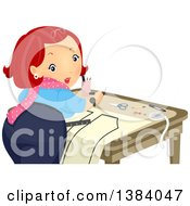 Clipart Of A Red Haired White Woman Looking Back While Creating A Sewing Pattern Royalty Free Vector Illustration by BNP Design Studio