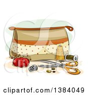 Clipart Of A Sewing Kit Bag With Accessories And Notions Royalty Free Vector Illustration