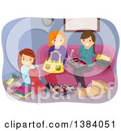 Clipart Of A Group Of White Women Working On Different Crafts In A Living Room Royalty Free Vector Illustration
