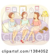 Clipart Of A Group Of Faceless Caucasian Woman Sewing Together Royalty Free Vector Illustration