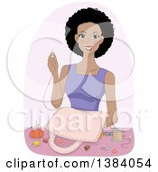 Clipart Of A Happy Black Woman Making A Bag From Scratch Royalty Free Vector Illustration