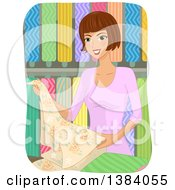 Clipart Of A Brunette White Woman Selecting Textile Fabric Royalty Free Vector Illustration