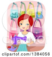 Clipart Of A Happy Red Haired White Woman Sewing Bags Royalty Free Vector Illustration by BNP Design Studio
