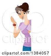 Happy Brunette White Woman Stitching Up A Fabric Panel