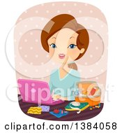 Clipart Of A Brunette White Woman Using A Laptop Computer And Sitting With Sewing Supplies Royalty Free Vector Illustration