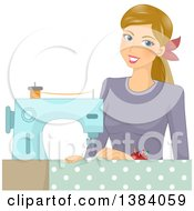 Clipart Of A Happy Blond White Woman Sewing Fabric Royalty Free Vector Illustration