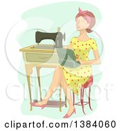 Clipart Of A Brunette White Woman Sitting With A Box By A Vintage Sewing Machine Royalty Free Vector Illustration by BNP Design Studio