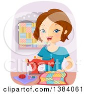 Happy Brunette White Woman Sewing A Quilt