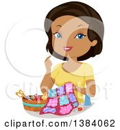 Clipart Of A Happy Black Woman Hand Sewing A Quilt Royalty Free Vector Illustration