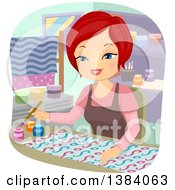 Clipart Of A Happy Red Haired White Woman Painting Fabric Royalty Free Vector Illustration