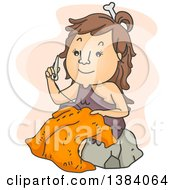 Clipart Of A Cartoon Cave Woman Sewing Clothes With A Bone Needle Royalty Free Vector Illustration