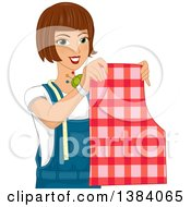 Clipart Of A Brunette White Woman Holding Up A Sewing Pattern And Pin Cushion Royalty Free Vector Illustration