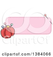 Clipart Of A Purple Sewn Patch Banner Label With A Sewing Needle And Pin Cushion Royalty Free Vector Illustration