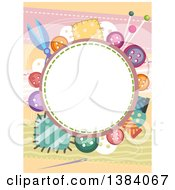 Circular Frame Border With Colorful Buttons And Patches