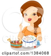 Clipart Of A Brunette White Woman Embroidering A Flower Royalty Free Vector Illustration by BNP Design Studio