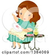 Clipart Of A Brunette White Woman Hand Embroidering A Flower Royalty Free Vector Illustration