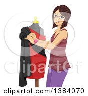 Clipart Of A Brunette White Woman Dressing A Mannequin Royalty Free Vector Illustration