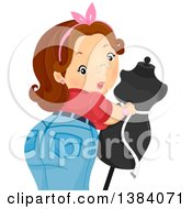 Clipart Of A Brunette White Woman Looking Back While Measuring A Mannequin Royalty Free Vector Illustration