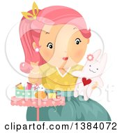 Clipart Of A Pink Haired White Woman Sewing A Stuffed Bunny Rabbit Royalty Free Vector Illustration by BNP Design Studio