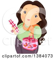 Clipart Of A Chubby Brunette White Woman Carrying Fabric And A Sewing Kit Royalty Free Vector Illustration by BNP Design Studio