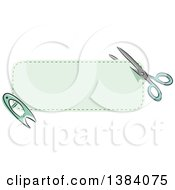Clipart Of A Green Sewn Patch Banner Label With Scissors And A Pin Royalty Free Vector Illustration