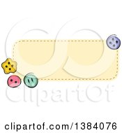 Clipart Of A Yellow Sewn Patch Banner Label With Buttons Royalty Free Vector Illustration
